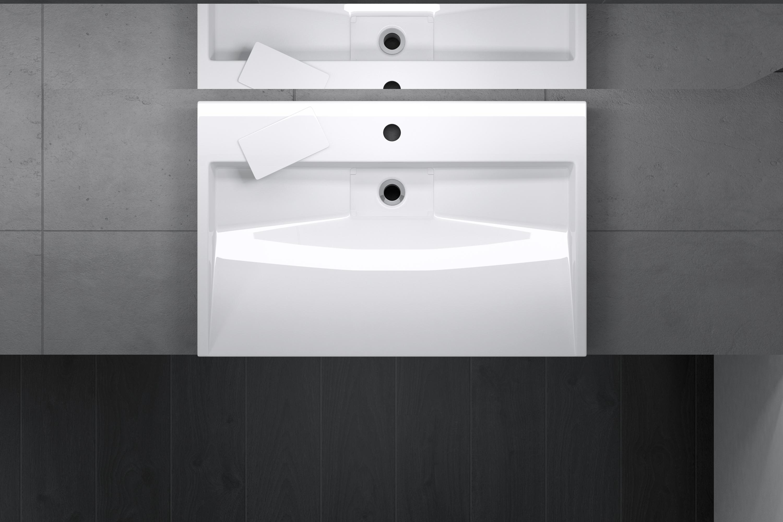 Lavabo vasque a poser ou suspendu 70 x 46 x 11cm evier fonte min/érale Colossum19-700 rectangulaire blanc